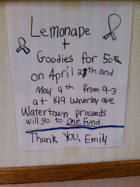 When life gave us lemons here, Emily, age 6, decided to make Lemonade.