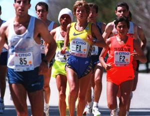 Here is Uta in the 1994 Boston Marathon.